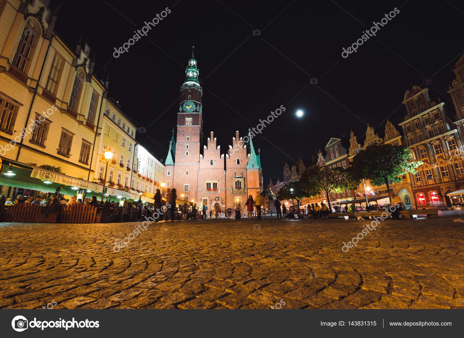Wrocławski Ratusz Nocą Zdjęcie Stockowe Editorial