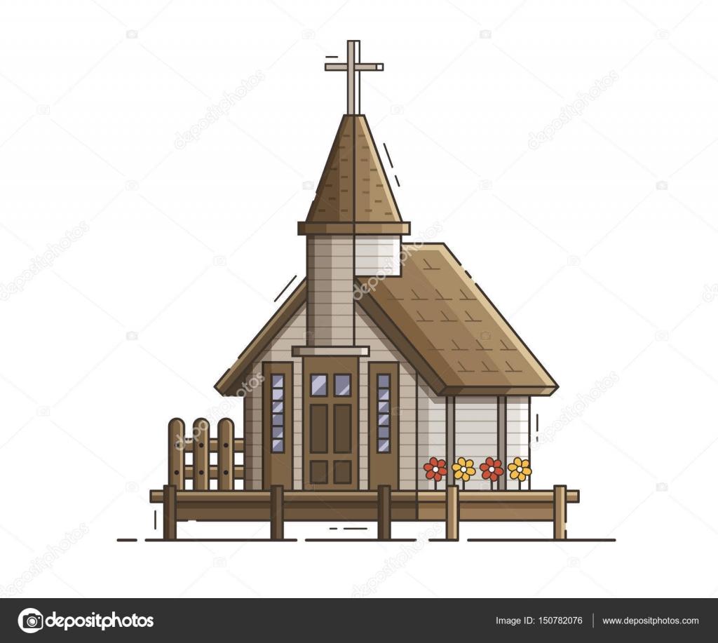 桟橋で木造の高床式の教会 ストックベクター Krugli86 At Gmailcom