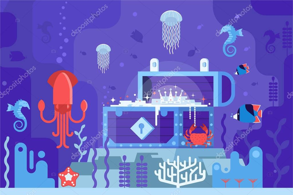 Underwater Treasure Box on Seabed