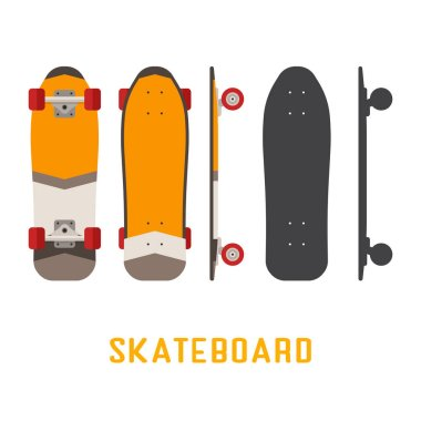 Short Skateboard Bottom, Side and Top View