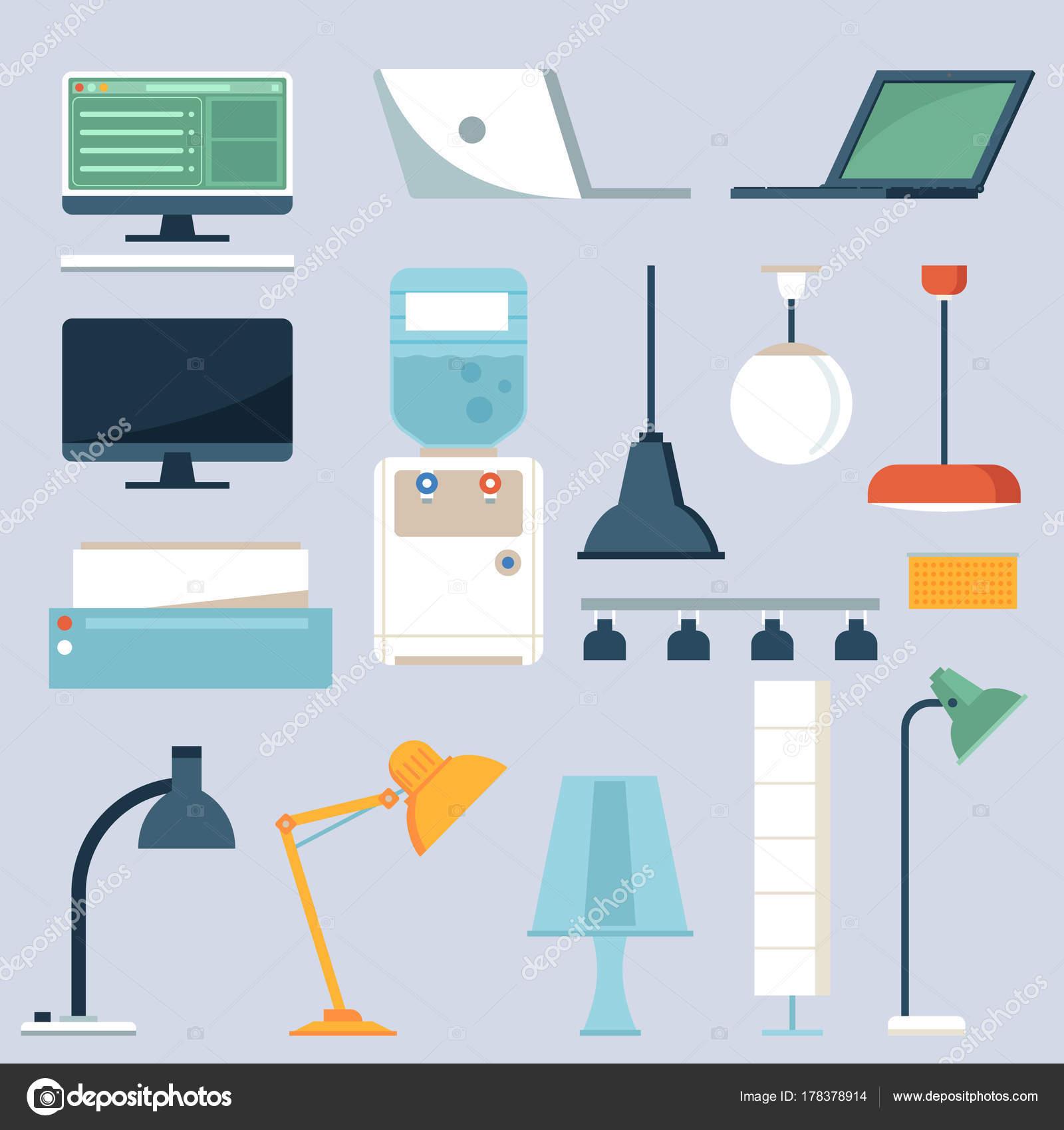 Heim und Büro-Elektronik-Set — Stockvektor © krugli86@gmail.com ...