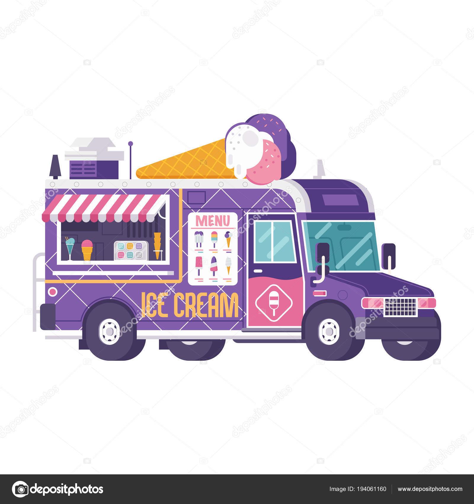 Verano helado Van o carro de comida — Vector de stock © krugli86 ...