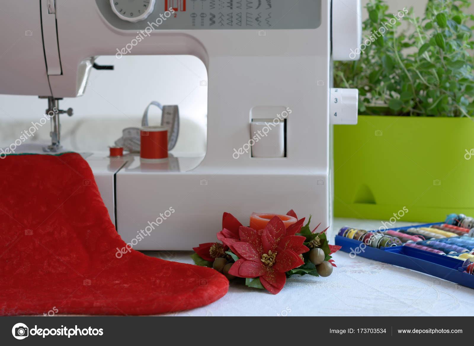 Vorbereitungen Fur Weihnachten Nahmaschine Nahen Einen