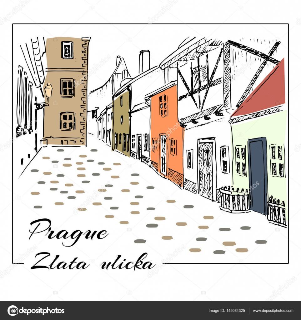 Praha Barevne Rucne Kreslene Ilustrace Skica Zlata Ulicka Golden