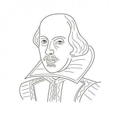 William Shakespeare. Sketch illustration. Black and white