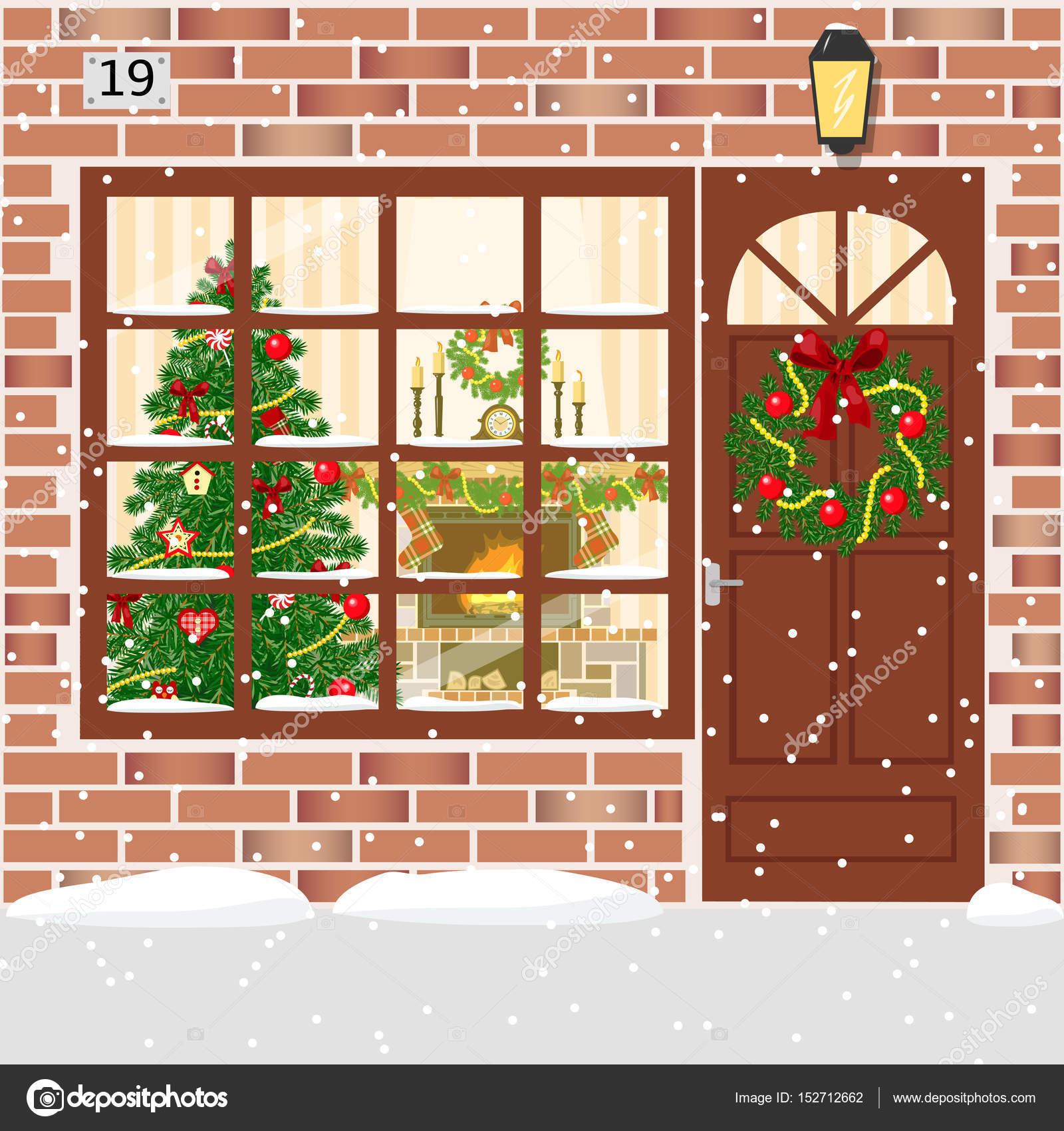 navidad decorada puerta entrada de la casa con guirnalda