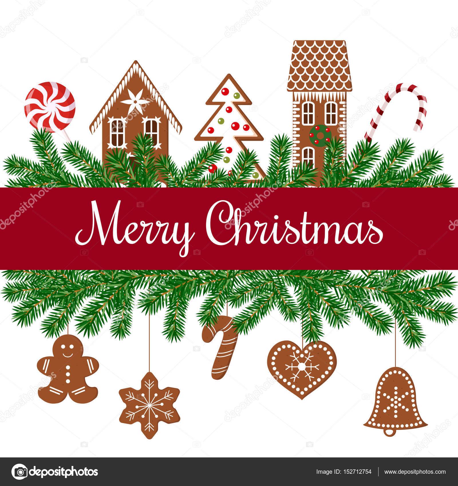 Cartolina Di Natale Con Le Figure Del Pan Di Zenzero Vettoriali