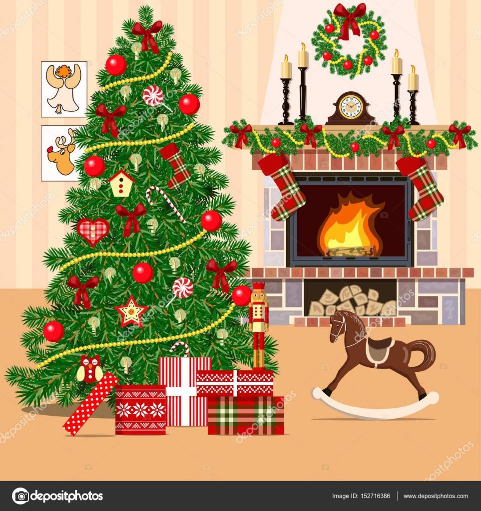 Weihnachten dekoriert Zimmer mit Weihnachtsbaum — Stockvektor ...