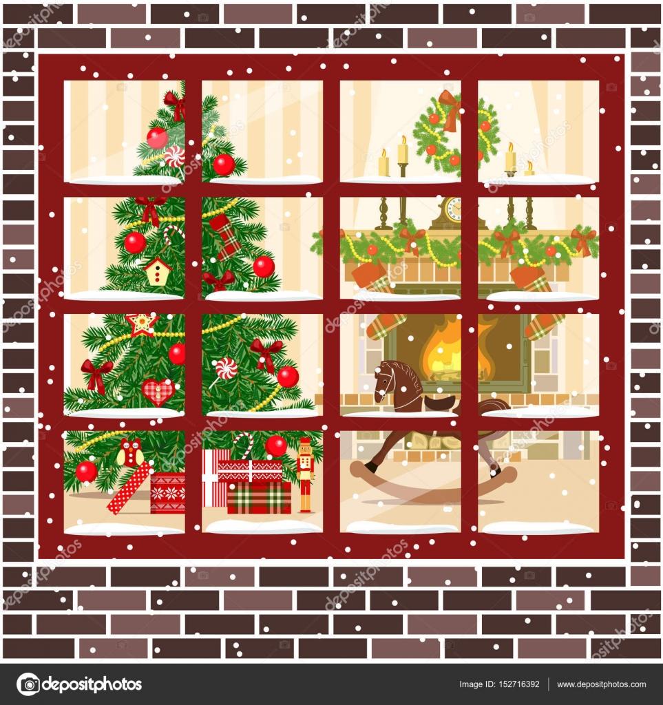 Weihnachts-Zimmer mit Kamin, Möbel-Weihnachtsbaum — Stockvektor ...