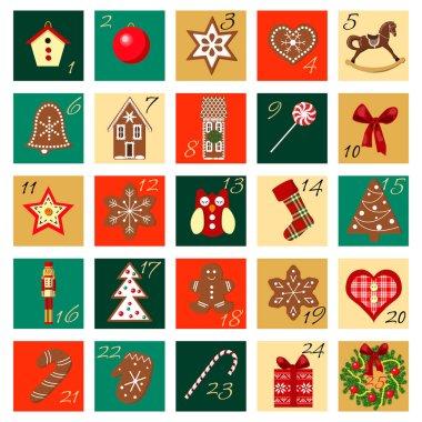 Advent Calendar hand drawn vector big squared set