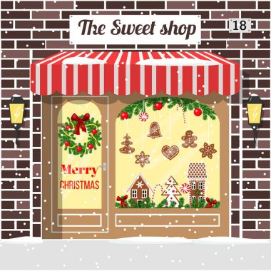 Christmas decorated and illuminated sweet shop