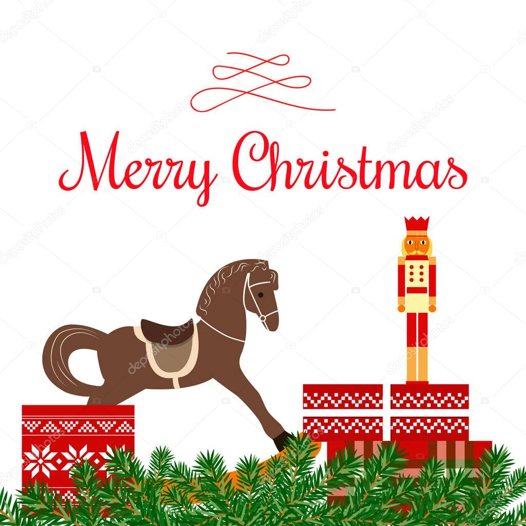 Merry Christmas Greetings With Garland Curl Ornament Balls Fairy Lights Gifts Toys Cute Nutcracker Rocking Horse Giftbox Vector Illustration Xmas For Postcards Greetings Prints Banner Premium Vector In Adobe Illustrator Ai