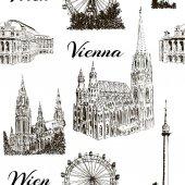 Sada z Vídně symboly vzor bezešvé vektorové sada. Donauturm, Stephansdom, Rathaus, Prater, Vídeňské státní opery.