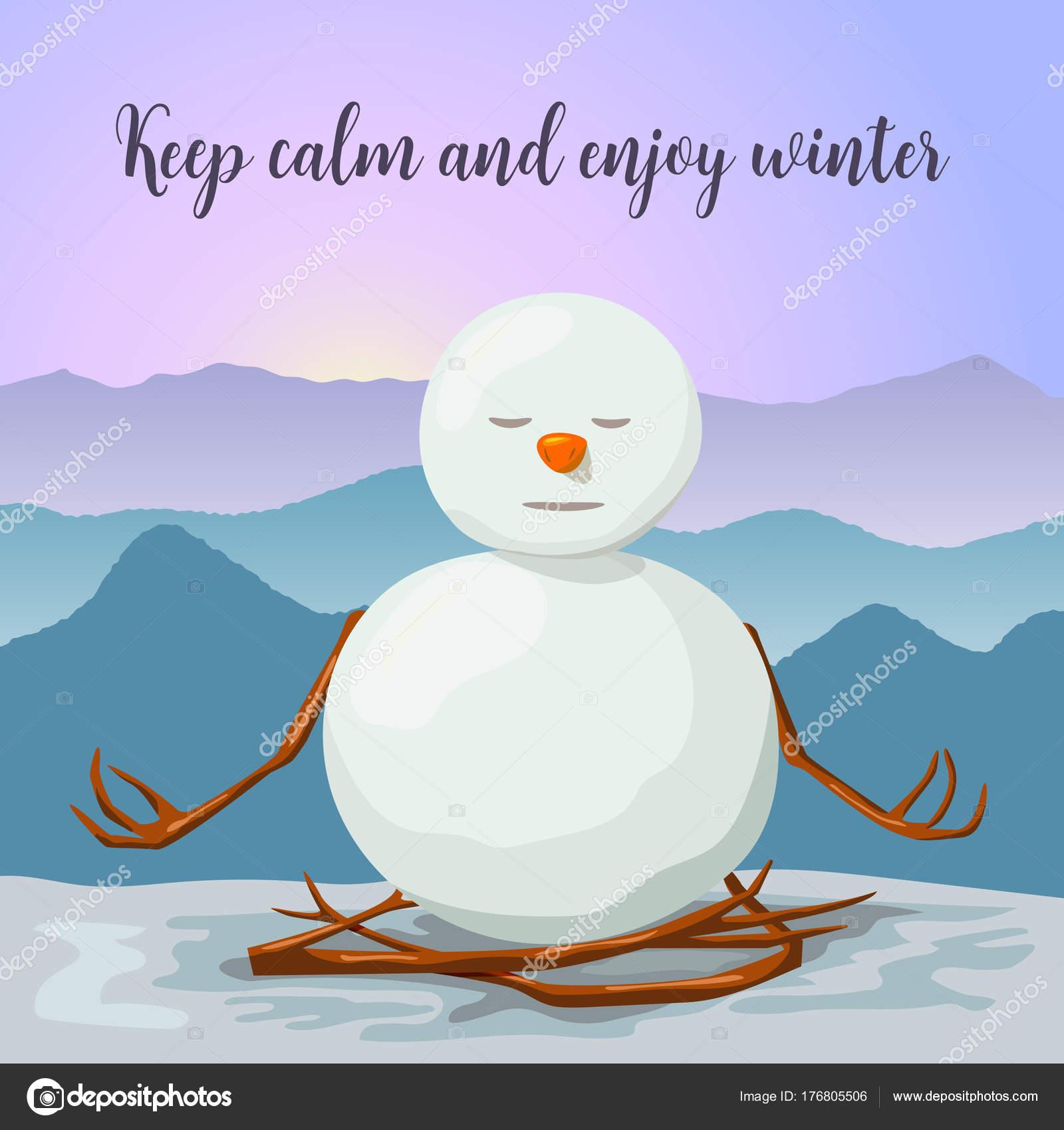 Auguri Di Natale Yoga.Pupazzo Di Neve Tranquilla E Rilassata Posizione Yoga Del
