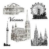 Sada z Vídně symboly vektorové ručně kreslenou inkoustu pera skica ilustrace. Donauturm, Stephansdom, Rathaus, Prater