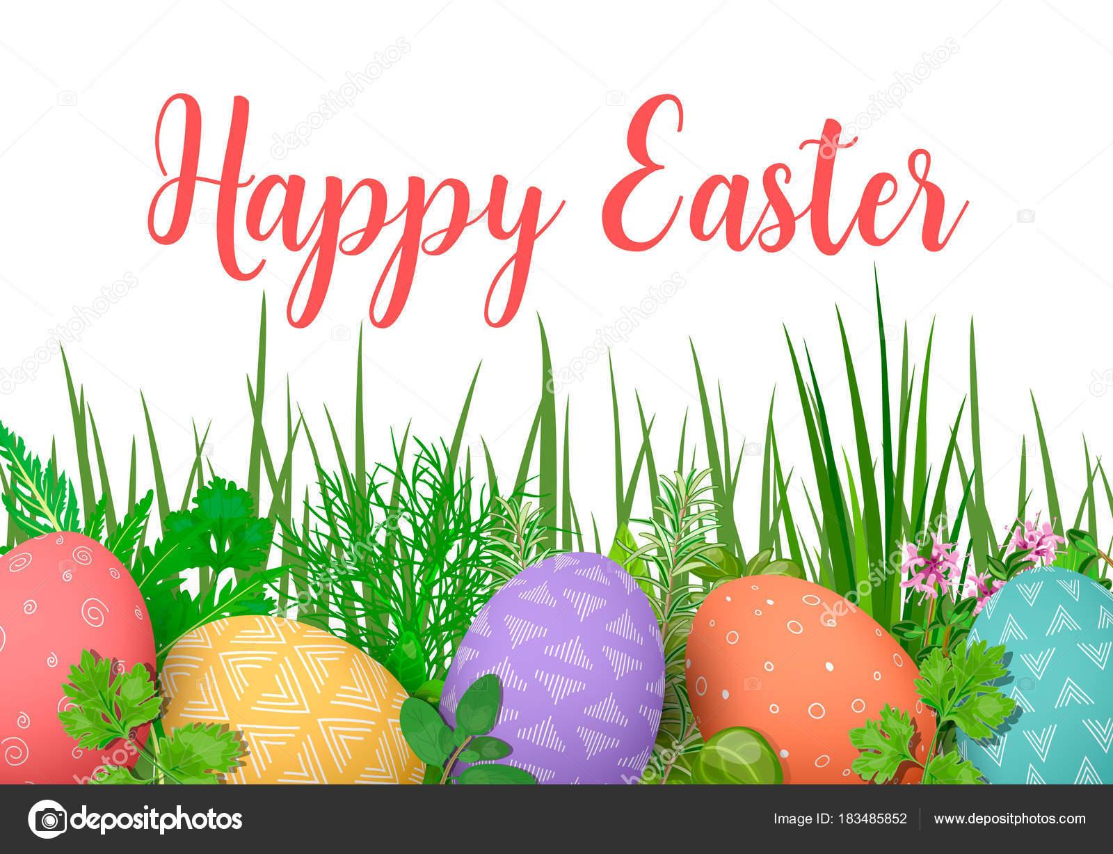 Feliz Pascua de resurrección. Coloridos huevos de Pascua en fila con ...