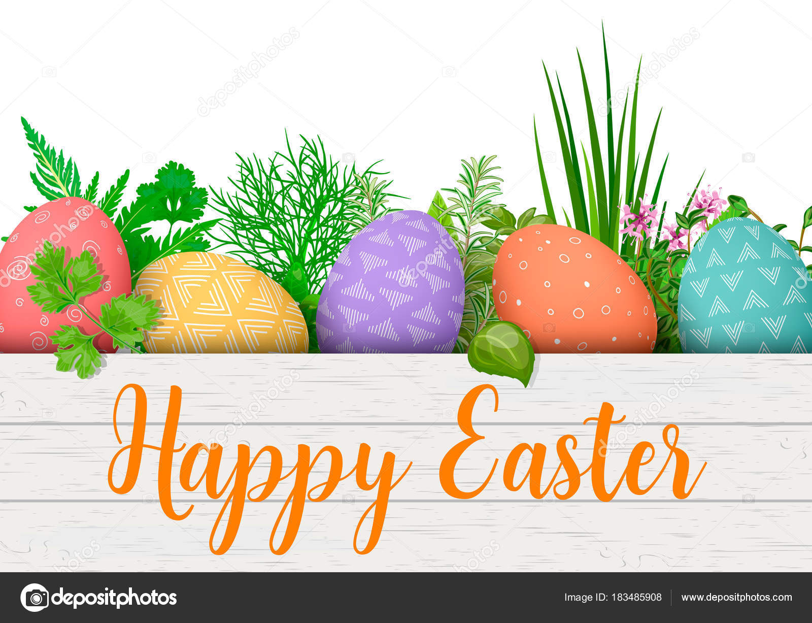 Happy easter easter colorful eggs in row in white wooden crate with happy easter easter colorful eggs in row in white wooden crate with cooking herbs negle Gallery