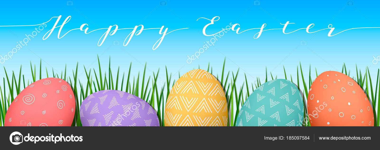 Easter colorful eggs in row blue sky background with text decorated happy easter simple nordic ornaments vector illustration postcard template advertising gifts vector by everildaryail negle Image collections