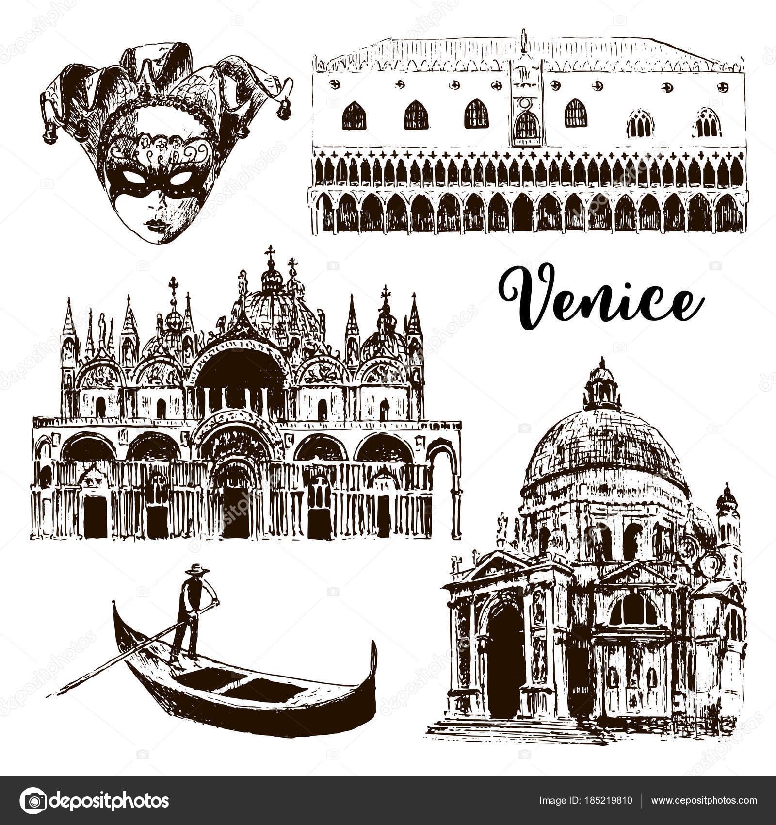 Venice architectural symbols: Carnival mask, palazzo, basilica, San ...