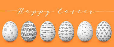 Happy Easter. Set of colorful Easter eggs with different simple textures on golden background.