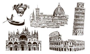 Italian architectural symbols: Coliseum, Duomo Santa maria del fiore, pisan tower, Basilica di San Marco, gondola, carnaval mask. drawn vector sketch illustration