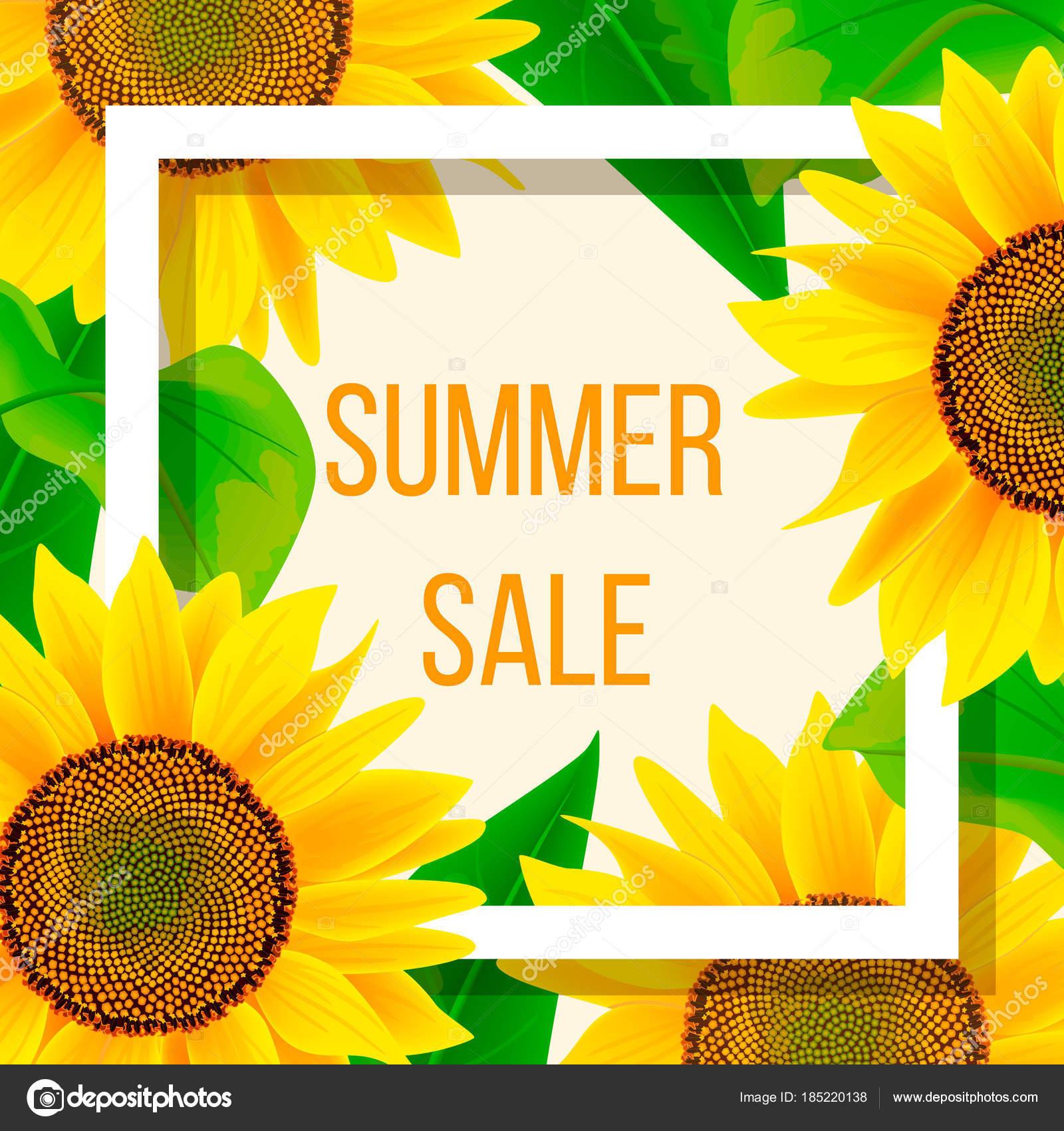 Sommer Sale Banner Vorlage mit Sonnenblume, Vektor-illustration ...
