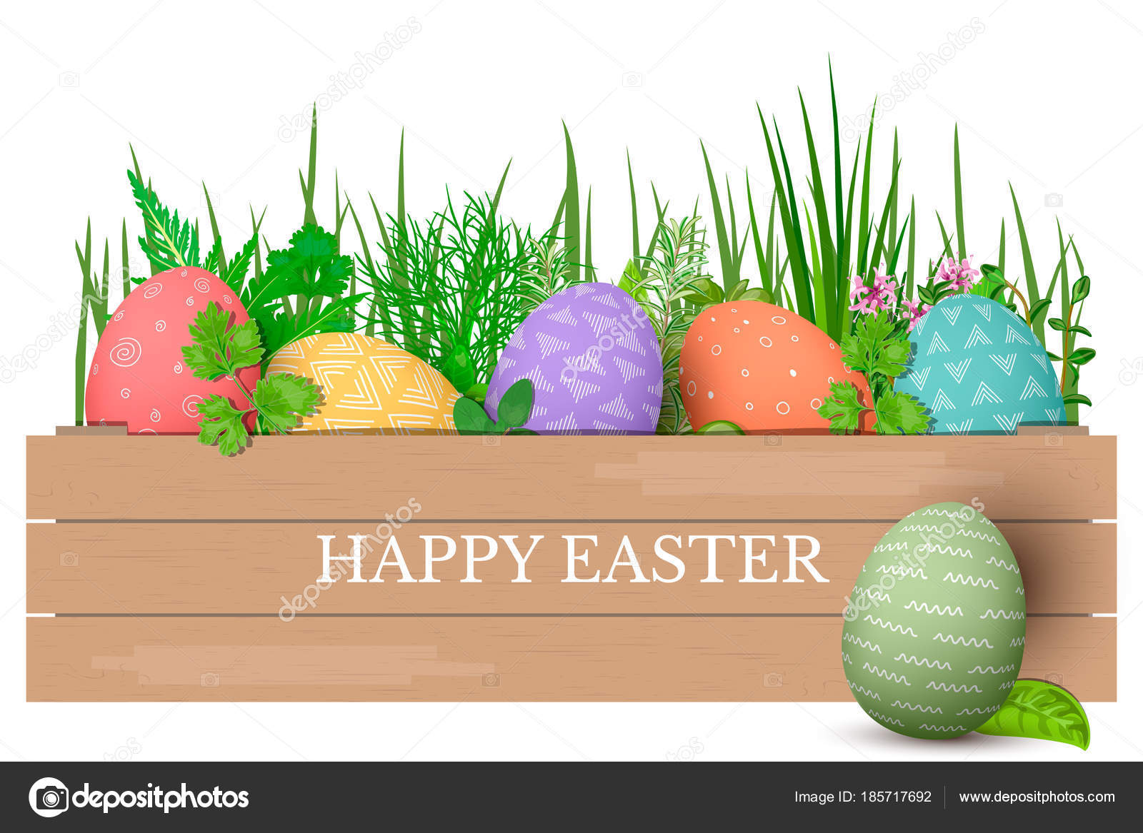 Happy easter easter colorful eggs in row in brown wooden crate with happy easter easter colorful eggs in row in brown wooden crate with cooking herbs negle Gallery