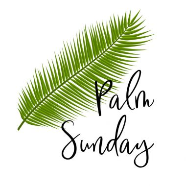 Green Palm leafs vector icon. Vector illustration for the Christian holiday. Palm Sunday text handwritten font.