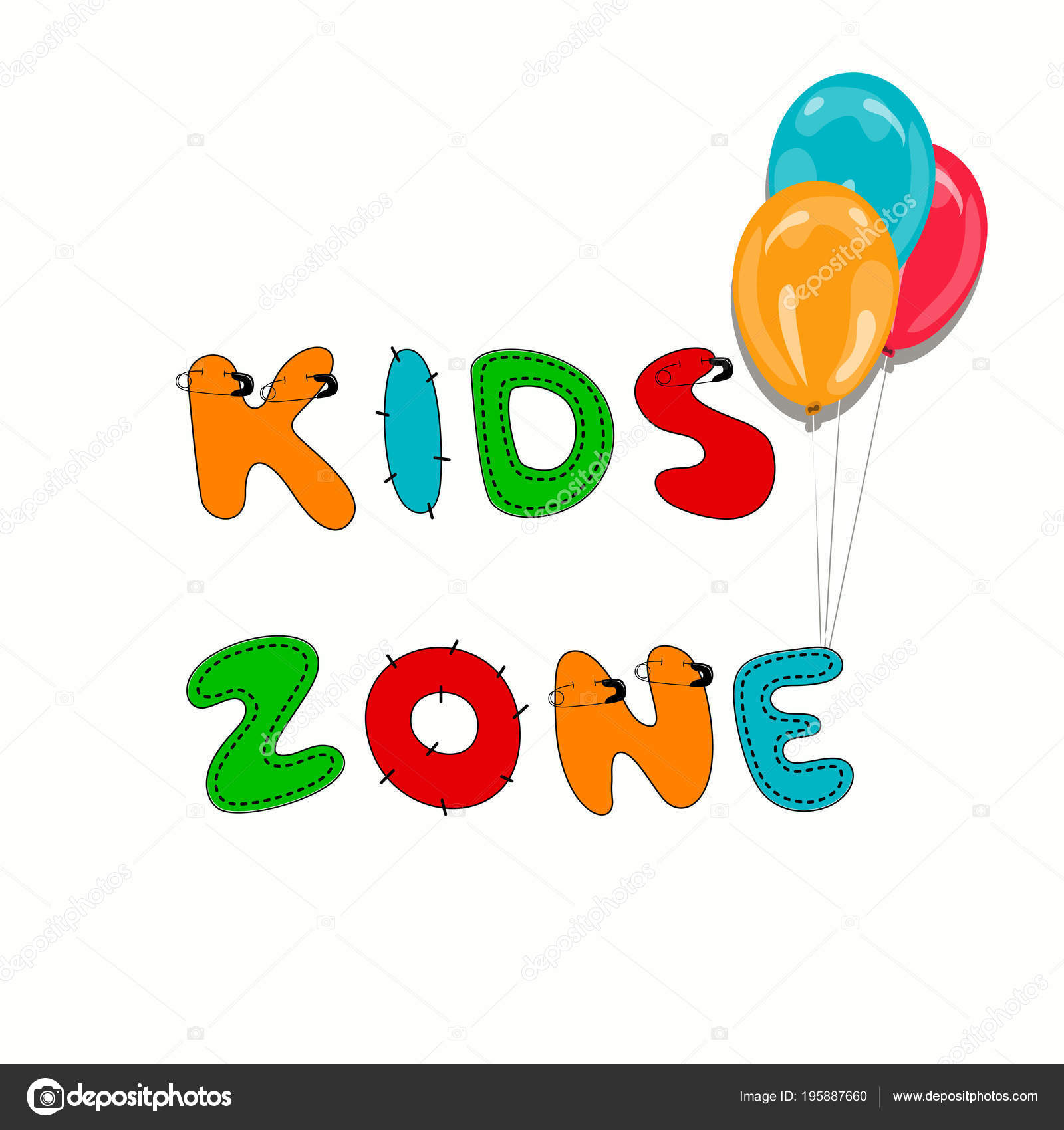 Kids zone logo sign. Hand written display colored text. Stitched ...