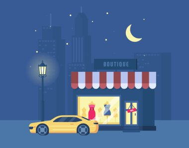 Vector illustration of boutique and sports car on the background of the city.