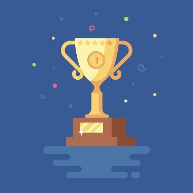 Vector illustration of Gold Cup winner trophy.