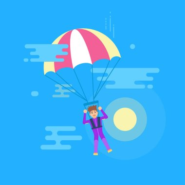 Isolated modern vector illustration of young man flying with a parachute.