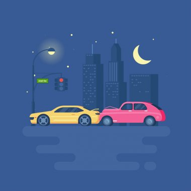 Isolated modern vector illustration of car accident on the background of the city.