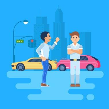 Vector illustration of two men arguing.