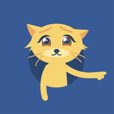 Isolated vector illustration of the cute cat with sad eyes.