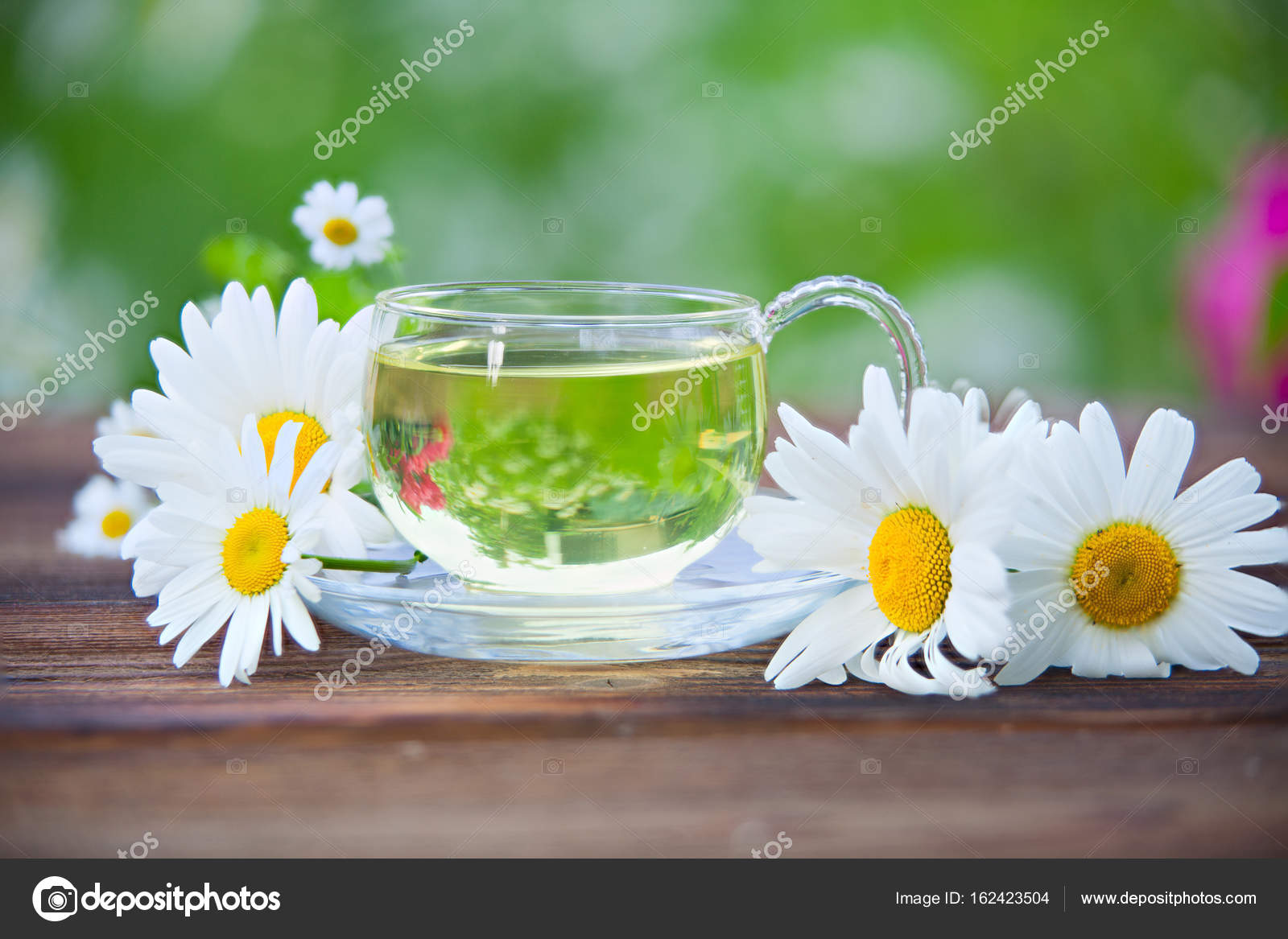 Crystal Cup With Green Tea On Table Stock Photo Solstzia 162423504