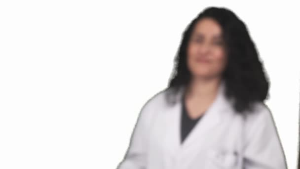 Medical physician Woman Doctor portrait over white background.
