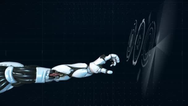 Futuristic Hi-tech Robotic arm teamwork concept animation