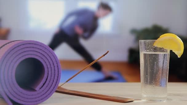 Mat for yoga, pilates, girl,incense sticks