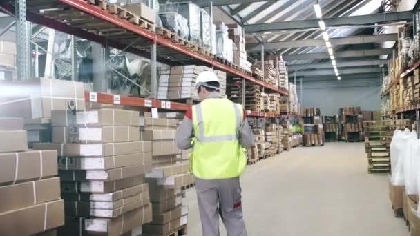 Raktári munkás védőeszközök sétál warehouseinspects az áru szállítás