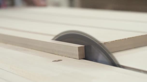 Circular table saw cutting wood in carpenter workshop close up