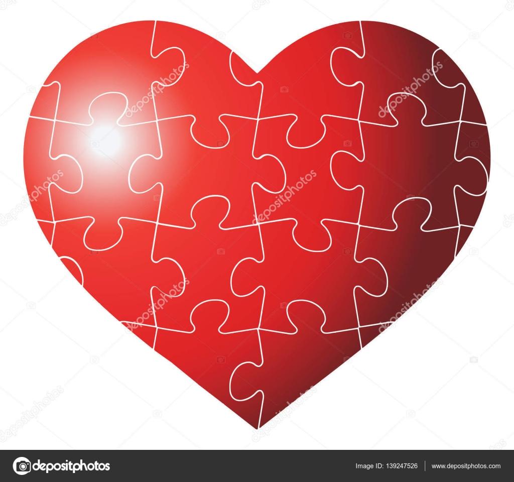 Corazón colorido en forma de puzzle ilustración de plantilla gráfica ...