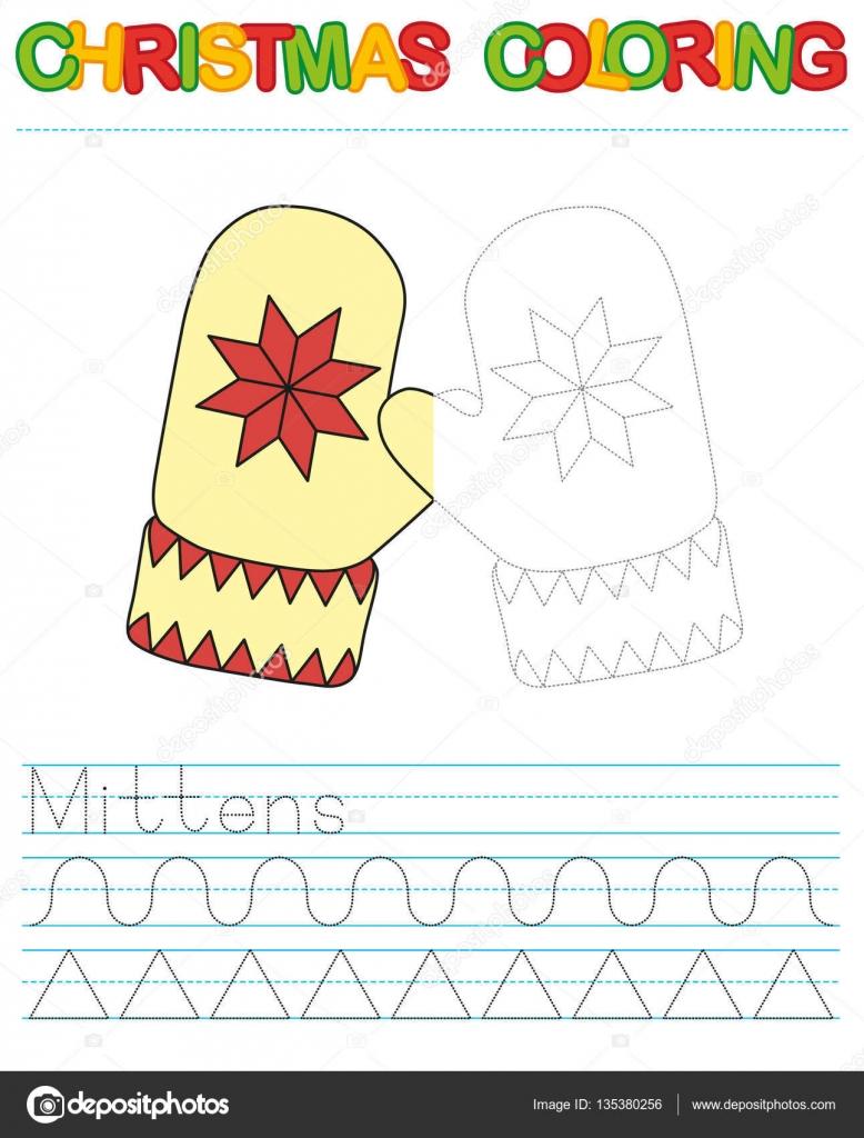 Navidad para colorear. Mitones para niños. Conectar los puntos y ...