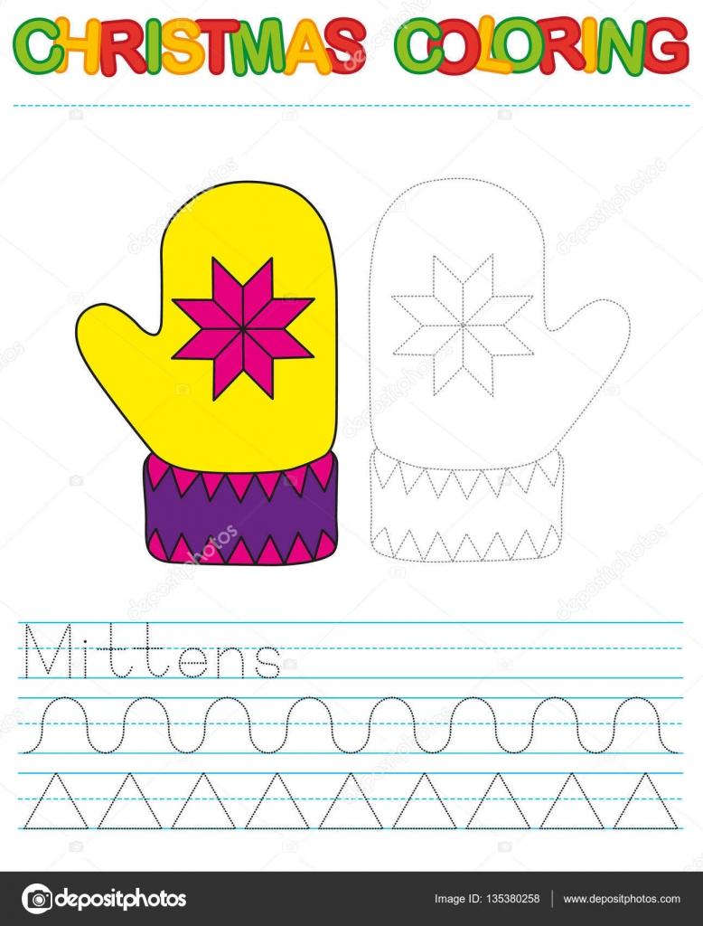 Navidad manoplas para colorear para niños. Conectar los puntos y ...