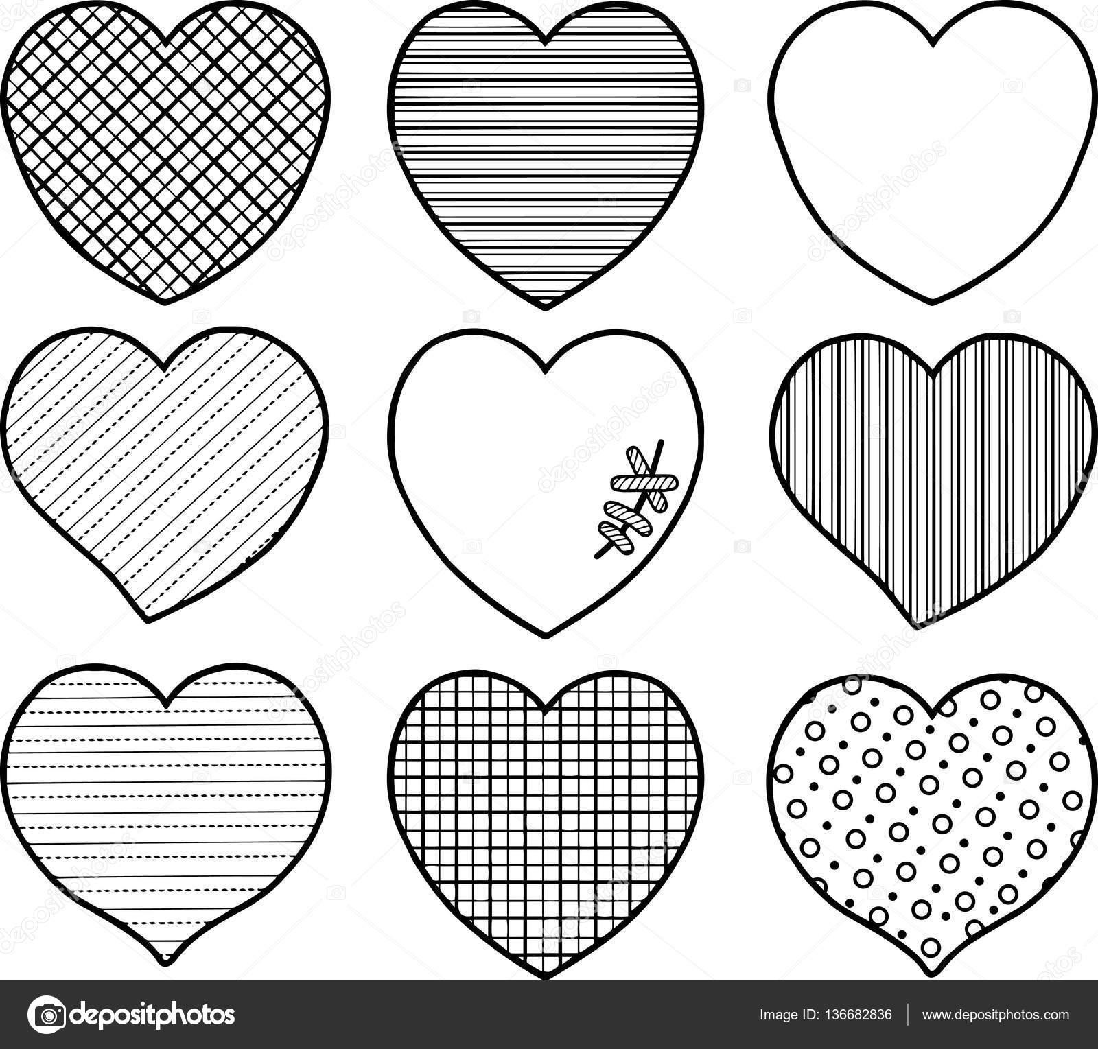 Para colorear pag para adulto. Conjunto de corazones para el ...