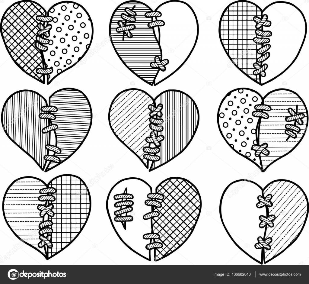 gefeliciteerd met valentijnsdag Kleuren pag voor volwassene. Set van gebroken harten voor geschenk  gefeliciteerd met valentijnsdag