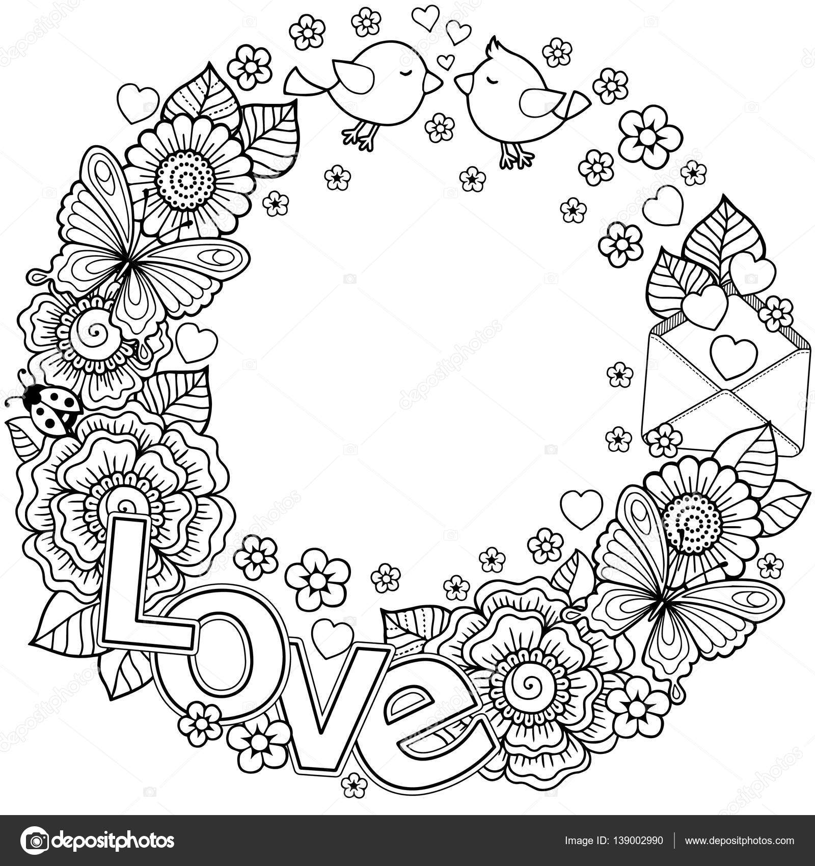 vector coloring page for adult  round shape made of