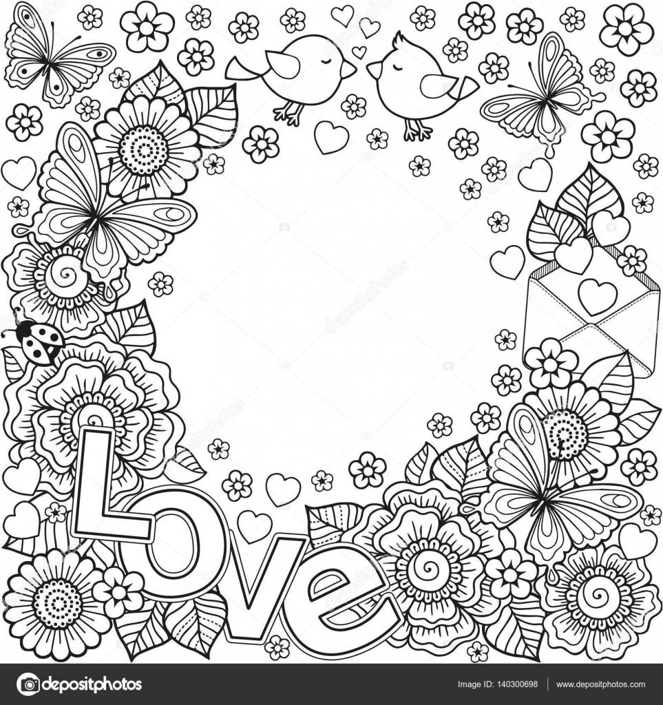 Kleurplaten Volwassenen Valentijn.Ik Hou Van Jou Vector Abstract Boek Kleurplaten Voor Volwassenen