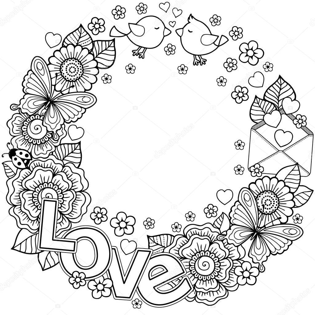 Kleurplaten Valentijn Volwassenen.Kleurplaat Voor Volwassenen Ronder Frame Gemaakt Van Wallpaperzen Org