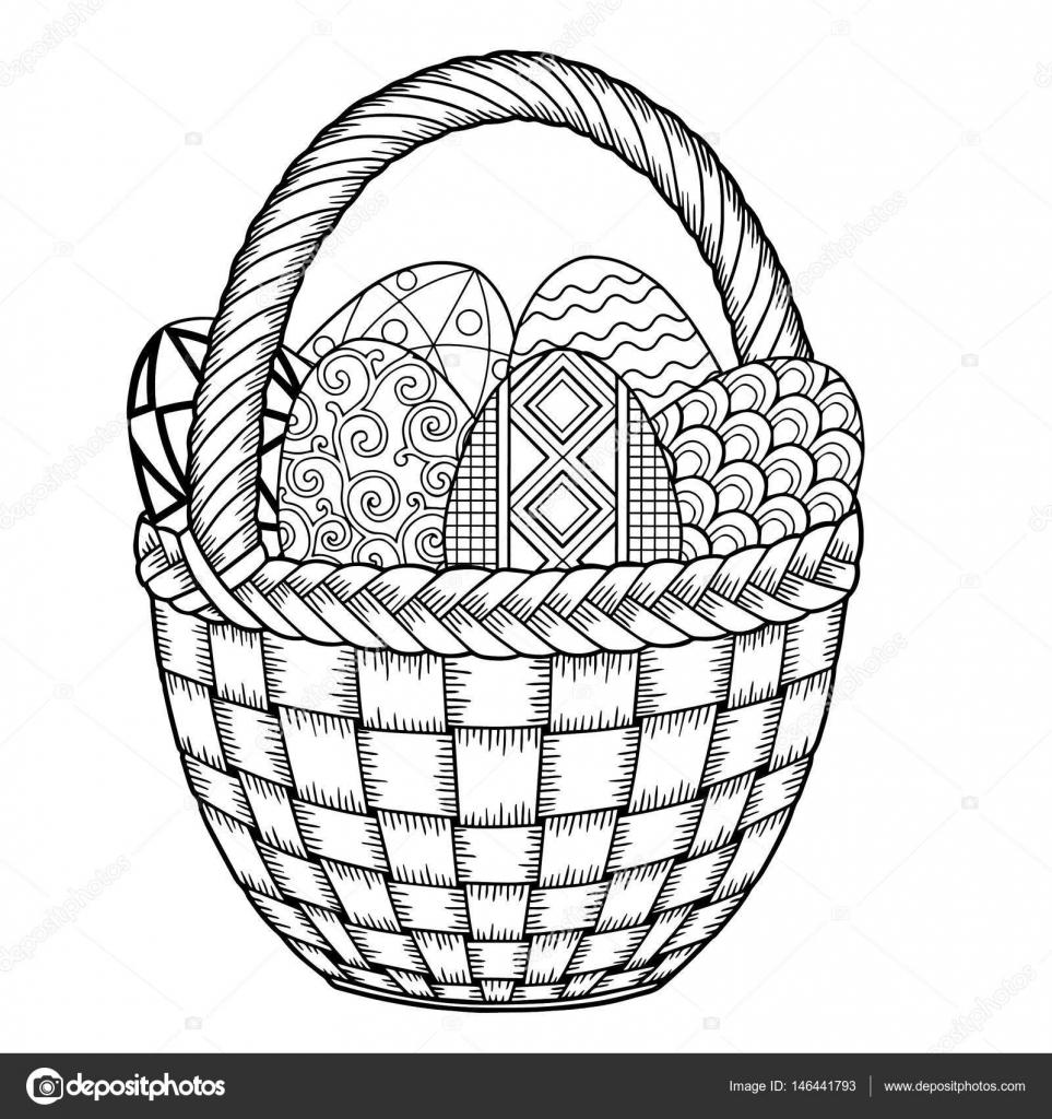 Mutlu Paskalyalar Siyah Ve Beyaz Doodle Paskalya Yumurtaları Sepet